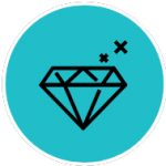 Illustration of an outline of a diamond with two X's and a blue background