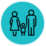 Illustration of an outline of a child holding hands with a man and woman with a blue background