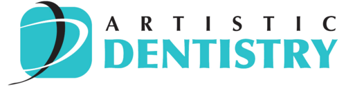 Illustration of blue square logo with the letter D and Artistic Dentistry written out